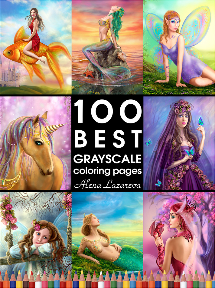 100 best Grayscale coloring pages by Alena Lazareva